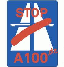 logo von stop a 100: eine durchgestrichene autobahn mit dem text stopp a 100
