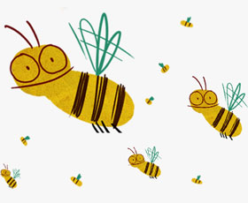 lächelnde Bienen im Schwarm