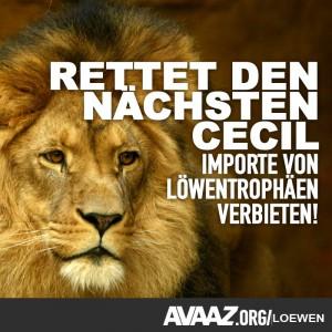 Petition für Tierschutz – gegen Löwen töten als Freizeitspaß